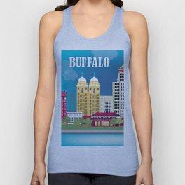 Buffalo, New York - Skyline Illustration by Loose Petals Unisex Tank Top