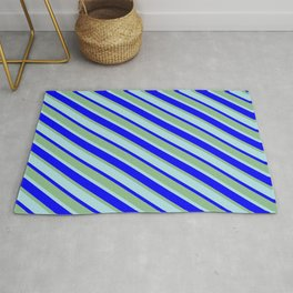 Powder Blue, Blue, and Dark Sea Green Colored Lined Pattern Rug