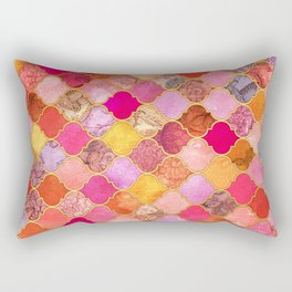 Hot Pink, Gold, Tangerine & Taupe Decorative Moroccan Tile Pattern Rectangular Pillow