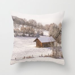 SCENERY 07 - Winter Snow Frost Home White Ice Throw Pillow