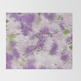 Purple - Lavender Fluffy Floral Abstract Throw Blanket