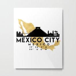 MEXICO CITY MEXICO SILHOUETTE SKYLINE MAP ART Metal Print