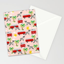 Schnauzer mini van hippie van palm tree tropical summer dog breed pattern Stationery Cards