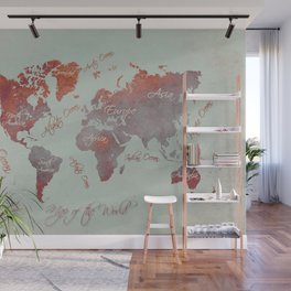 world map 142 red grey #worldmap #map Wall Mural