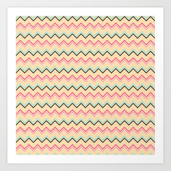 Pink And Blue Chevron Geometric Pattern Art Print
