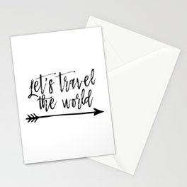 PRINTABLE ART Let's Travel The World,Travel Print,Adventure Quote,Inspirational Quote,Travel Sign,Ty Stationery Cards