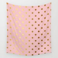 bisexual Wall Tapestries featuring Golden polka dots on rose gold backround   by Better HOME