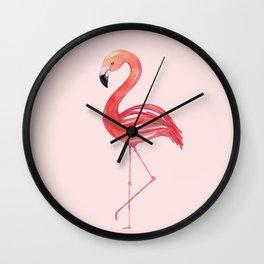 Flamingo Watercolor Painting Wall Clock