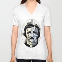 edgar allan poe V-neck T-shirts featuring Edgar Allan Poe by qtrnevermore