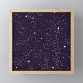 Universe with planets and stars seamless pattern, cosmos starry night sky 005 Framed Mini Art Print