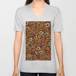 70s retro ditzy flowers, boho, browns, orange, hippie Unisex V-Neck