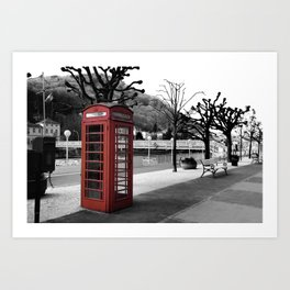 old English phone booth in colorkey Art Print