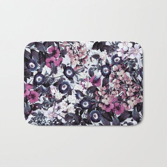 Bohemian Floral Nights Pink and Gray Bath Mat
