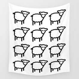 Cute Transparent Sheep Flock in Rows Monotone Light Wall Tapestry