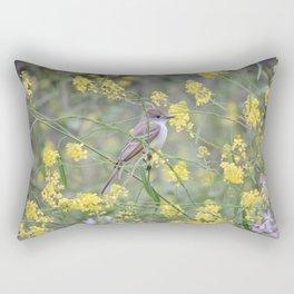 Ash-Throated Flycatcher in a Mustard Field Rectangular Pillow