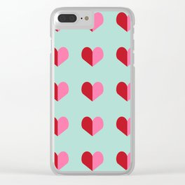 Heart love valentines day hearts pattern mint red valentine pattern Clear iPhone Case