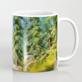 Forest glade. Spruces on the hill Coffee Mug