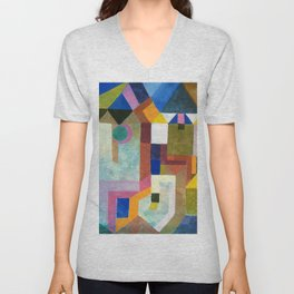 Paul Klee - Digital Remastered Edition - Colorful Architecture Unisex V-Neck