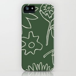 Flourish Floral line art - hunter green and cream iPhone Case