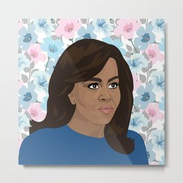 Michelle Obama Floral Metal Print