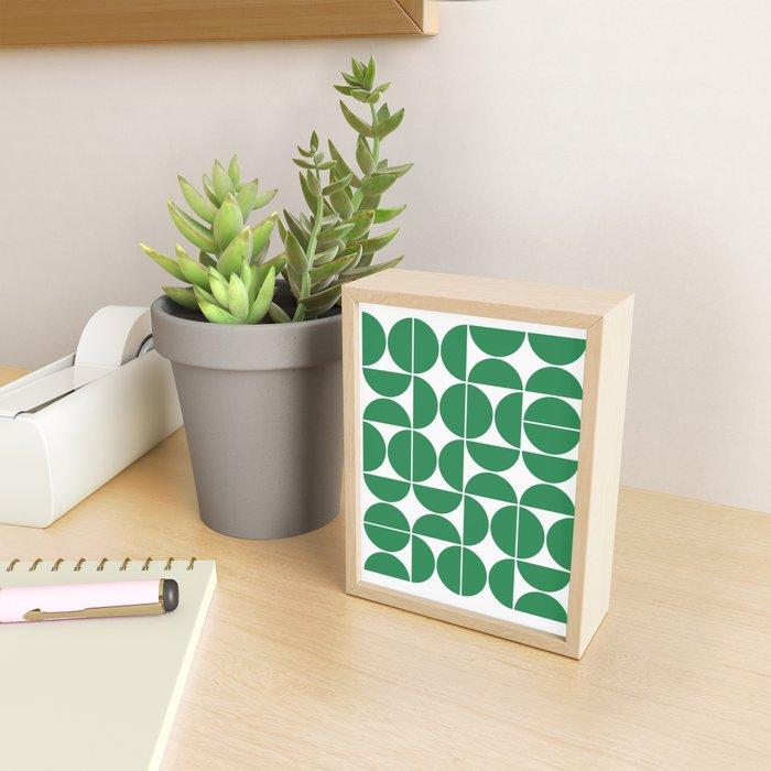 Mid Century Modern Geometric 04 Green Framed Mini Art Print