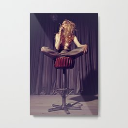 relaxed on the bar stool - Naked women Metal Print