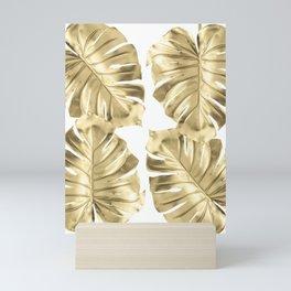 Gold Monstera Leaves on White Mini Art Print