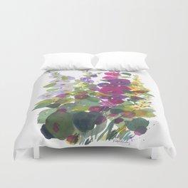 Purple Hollyhock Garden Duvet Cover