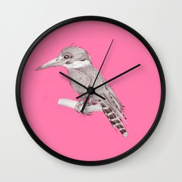 pink kingfisher bird Wall Clock