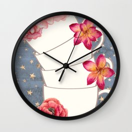 Floral Coffee Cups Wall Clock