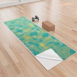 Blue & Yellow Corgi Pattern Yoga Towel