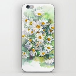 Watercolor chamomile white flowers iPhone Skin