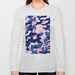 Blue Pink Camouflage Long Sleeve T-shirt