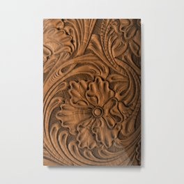 Golden Tanned Tooled Leather Metal Print