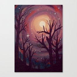 Pinky Night Under The Stars Canvas Print