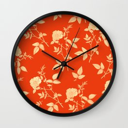 GOLDEN ROSE FLOWERS ON RED Wall Clock