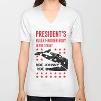 jfk V-neck T-shirts featuring Misfits JFK Poster Series - Bullet-Ridden Body by Robert John Paterson