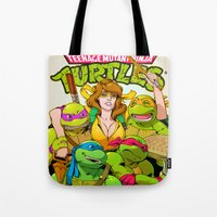 tmnt Tote Bags featuring TMNT by Kyle Harlan