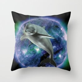 Space dolphin Throw Pillow