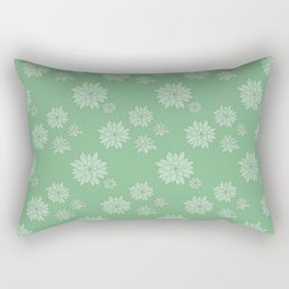 Green Succulent Rosettes Organic Pattern - Floral Line Drawing Rectangular Pillow
