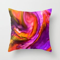 purple and orange spiral Throw Pillow