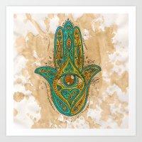Watercolor Hamsa Hand Art Print