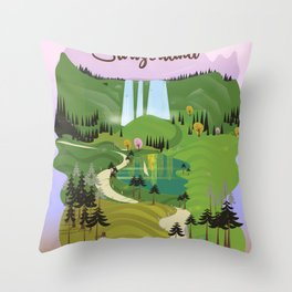 Rhine Falls Switzerland vintage style travel poster. Throw Pillow