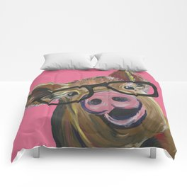 Pink Pig Painting, Cute Farm Animal Comforters