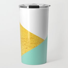 Gold & Aqua Blue Geometry Travel Mug