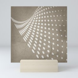 Halftone Flowing Swerve in Taupe Mini Art Print