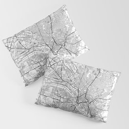 Dallas White Map Pillow Sham