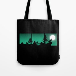 The sheep and the wolf in the woods Tote Bag