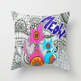 Meow-tangle Throw Pillow