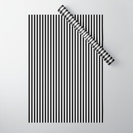 Vertical Stripes (Black/White) Wrapping Paper